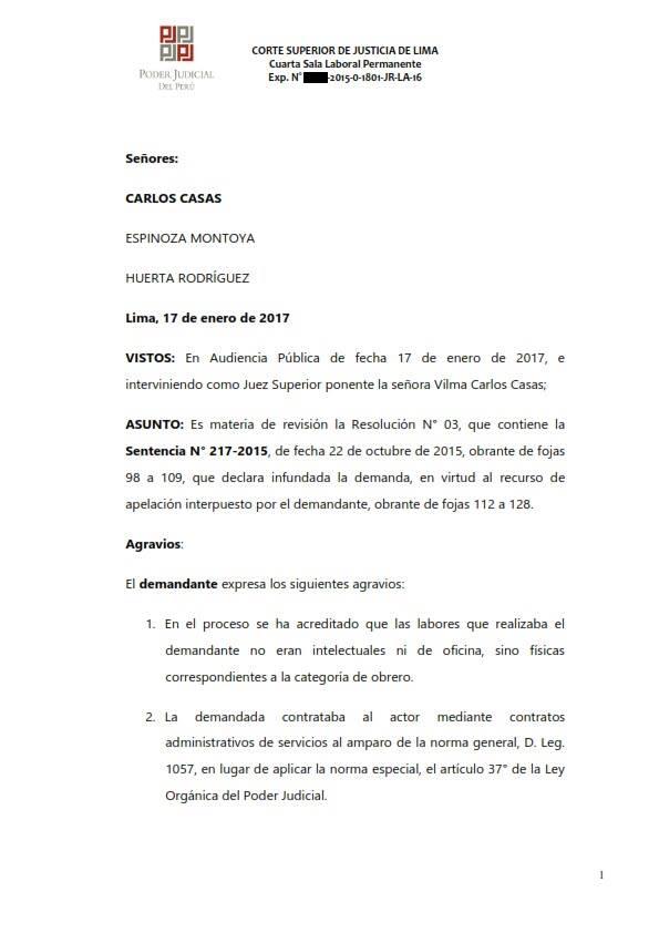 Sereno CAS es reconocido como obrero municipal y se ordena su incorporacion al regimen 728 - Legis.pe 1