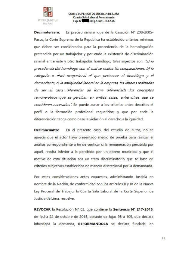 Sereno CAS es reconocido como obrero municipal y se ordena su incorporacion al regimen 728 - Legis.pe 11