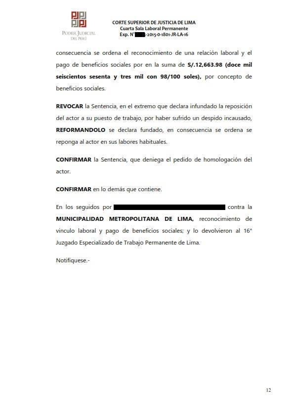 Sereno CAS es reconocido como obrero municipal y se ordena su incorporacion al regimen 728 - Legis.pe 12