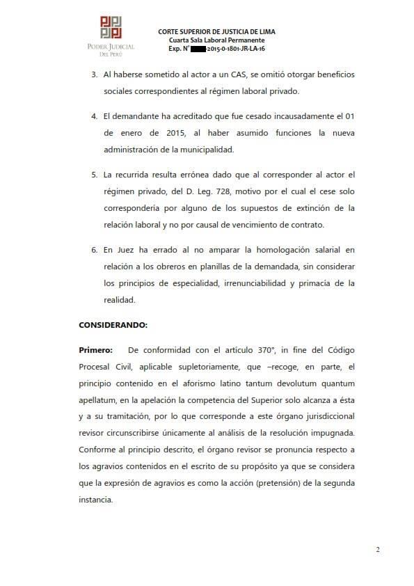 Sereno CAS es reconocido como obrero municipal y se ordena su incorporacion al regimen 728 - Legis.pe 2