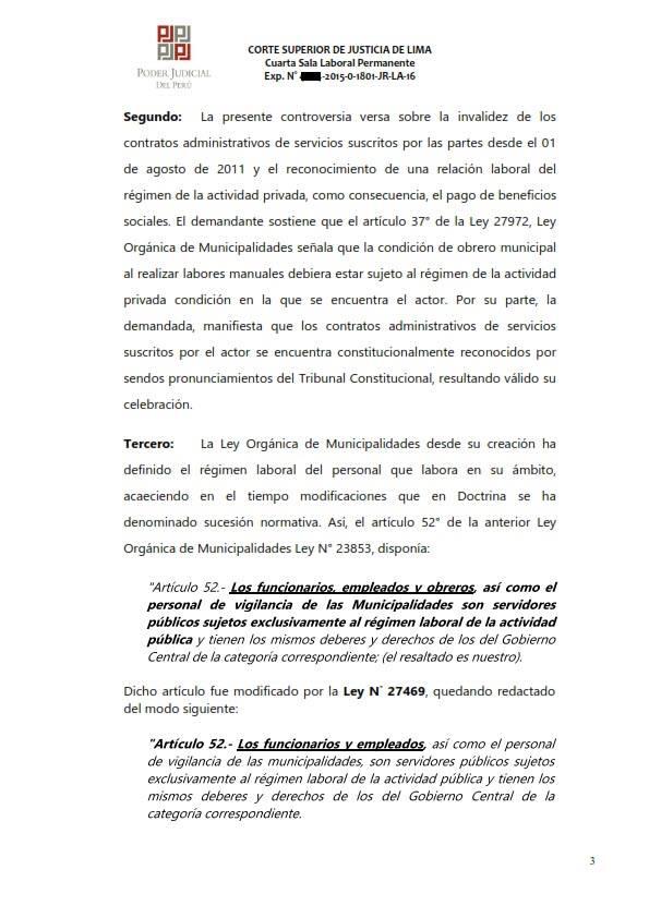Sereno CAS es reconocido como obrero municipal y se ordena su incorporacion al regimen 728 - Legis.pe 3