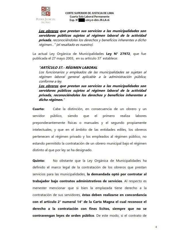 Sereno CAS es reconocido como obrero municipal y se ordena su incorporacion al regimen 728 - Legis.pe 4