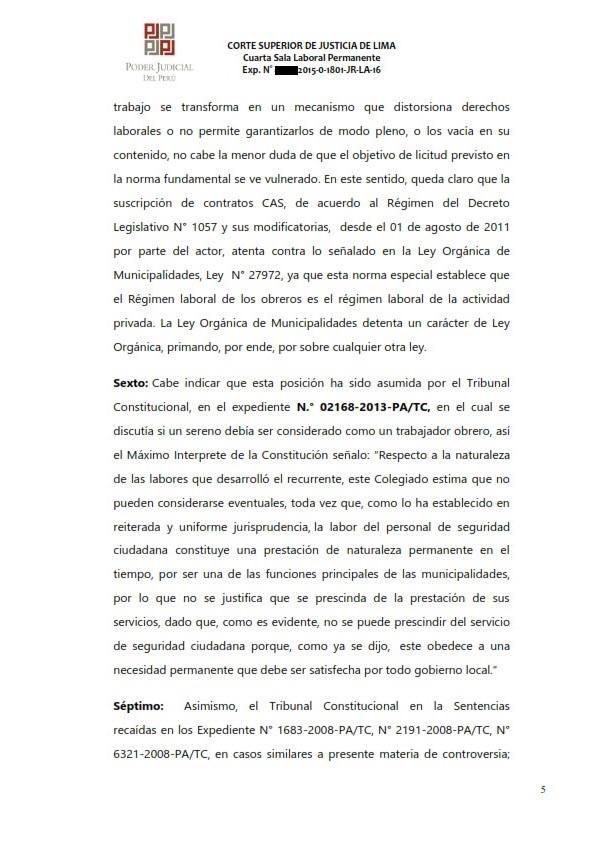 Sereno CAS es reconocido como obrero municipal y se ordena su incorporacion al regimen 728 - Legis.pe 5