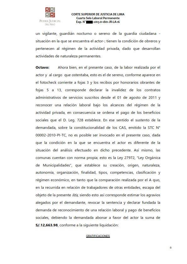 Sereno CAS es reconocido como obrero municipal y se ordena su incorporacion al regimen 728 - Legis.pe 6