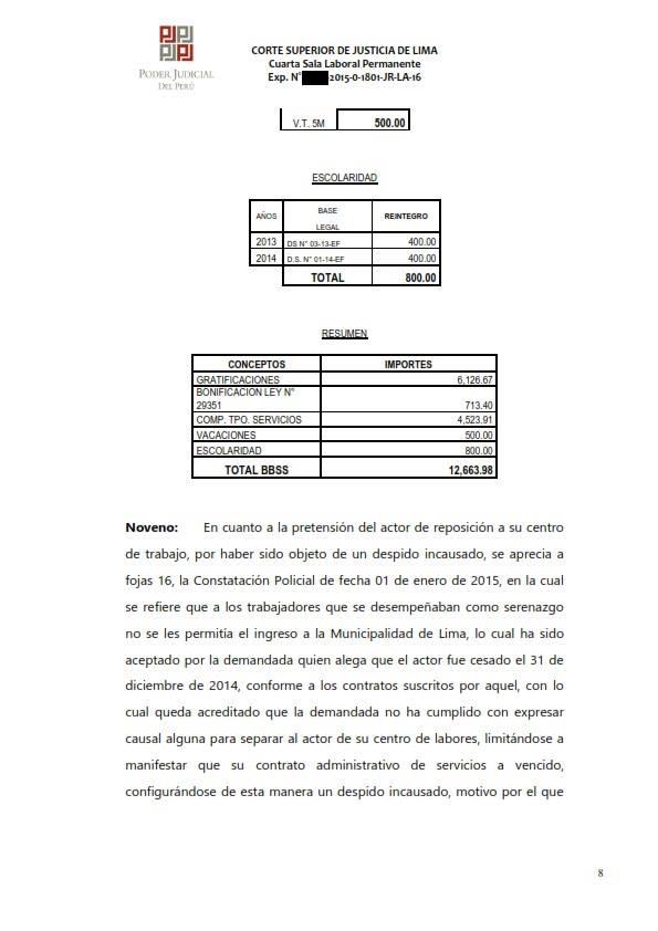 Sereno CAS es reconocido como obrero municipal y se ordena su incorporacion al regimen 728 - Legis.pe 8