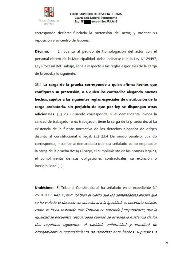 Sereno CAS es reconocido como obrero municipal y se ordena su incorporacion al regimen 728 - Legis.pe 9