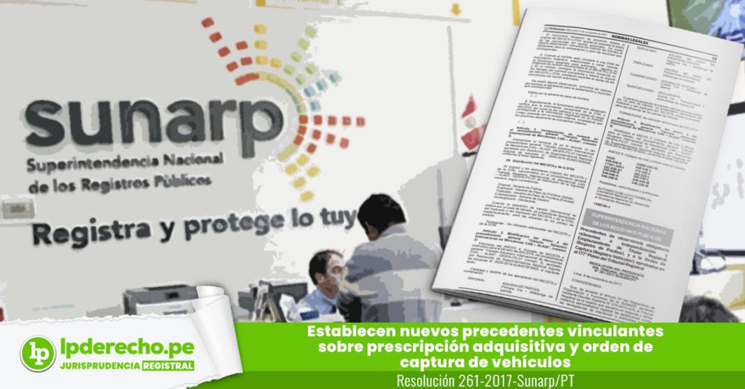 Resolución 261-2017-Sunarp/PT con logo de jurisprudencia registral y LP