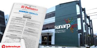 Fachada de la Sunarp con logo de norma legal y LP