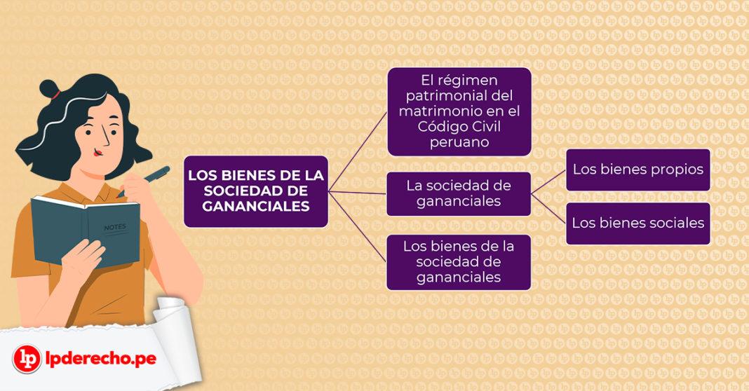 Esquema de los bienes de la sociedad de gananciales con logo LP