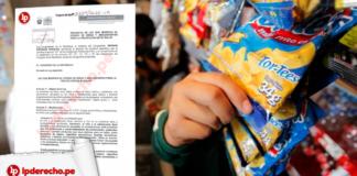 mano de niño cogiendo una golosina y imagen de un proyecto ley con logo de LP