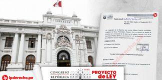 Fachada del Congreso con portada del proyecto ley y logo de LP
