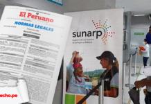 Señor con logo de la Sunarp y norma legal con logo LP
