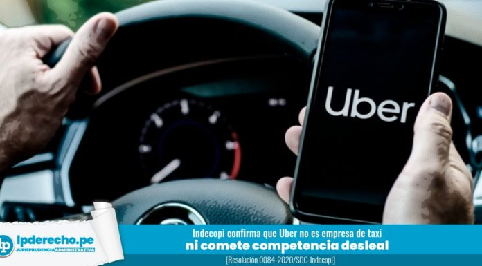 aplicativo de taxis uber resolución 0084-2020-SDC-Indecopi con logo lp