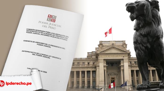 Anteproyecto de la Ley Orgánica del Poder Judicial con fachada del PJ y logo de LP