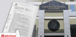 Fachada del Fuero Militar Policial con la foto de una directiva y logo de LP