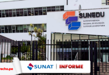 Fachada de la Sunedu con logo de Informe de la Sunat y LP
