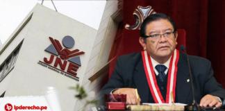 Fachada de la JNE Jorge Salas Arenas con logo de LP