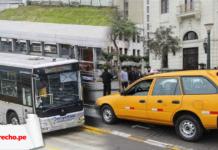 Foto de taxi y Metropolitano con logo de LP