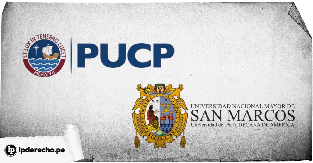 Logo de PUCP y Unmsm con logo de LP