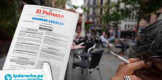 Persona fumando con lofgo de norma legal y jurisprudencia administrativa y LP