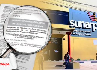 Fachada de la Sunarp con la resolución 173-2020-sunarp-sn y logo de LP