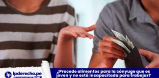 ¿Procede alimentos para la cónyuge que es joven y no está incapacitada para trabajar? [Lea la resolución] con logo de LP