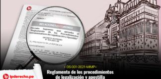 Decreto Supremo 005-2021-RE - Reglamento de legalización apostilla fachada cancillería con logo LP