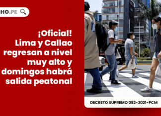 ¡Oficial! Lima y Callao regresan a nivel muy alto y domingos habrá salida peatonal