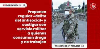 Proponen regular «delito del antisocial» y castigar con servicio militar a quienes consuman droga y no trabajen