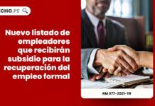 Nuevo listado de empleadores que recibirán subsidio para la recuperación del empleo formal