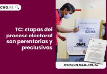 Tribunal Constitucional etapas del proceso electoral son perentorias y preclusivas - LP