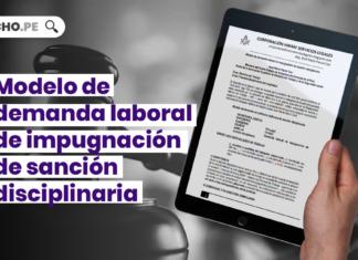 Modelo de demanda laboral de impugnacion de sancion disciplinaria con logo de LP
