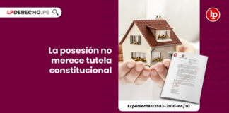 Tribunal Constitucional: La posesión no merece tutela constitucional