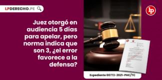 Juez otorgó en audiencia 5 días para apelar, pero norma indica que son 3, ¿el error favorece a la defensa?