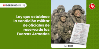 Ley 31342: Ley que establece la condición militar de oficiales de reserva de las Fuerzas Armadas