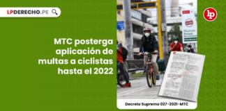 MTC posterga aplicación de multas a ciclistas hasta el 2022