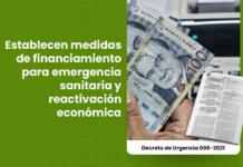Establecen medidas de financiamiento para emergencia sanitaria y reactivación económica