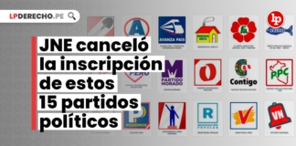 JNE canceló la inscripción de estos 15 partidos políticos